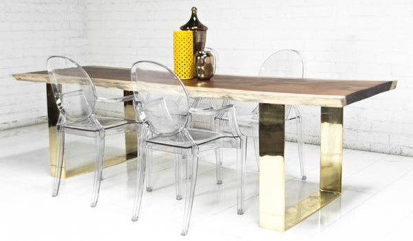 Fat Brass U-Leg Eco Slab Dining Table