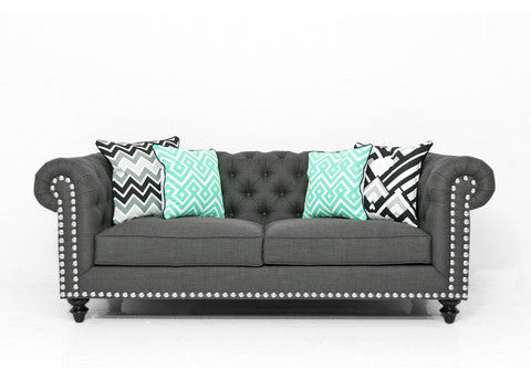 Chesterfield Sofa in Charcoal Linen