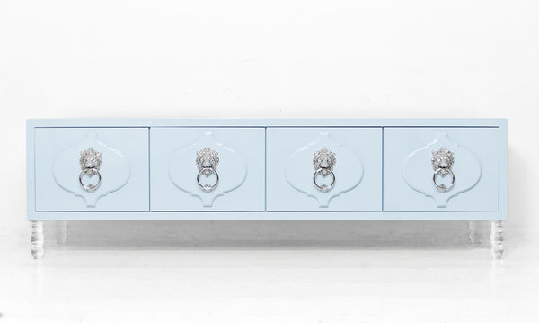 Moroccan 4 Door Credenza in Ice Blue
