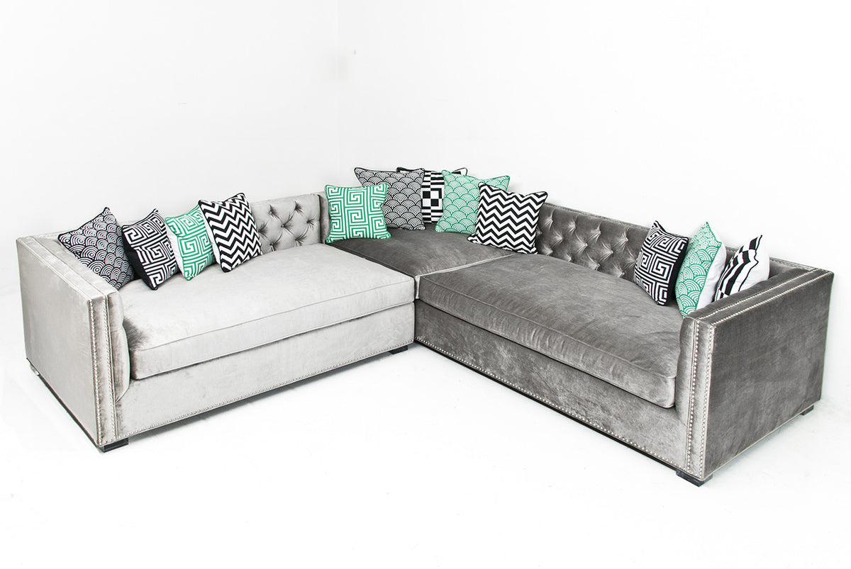 New Deep Sectional in Brussels Charcoal Velvet - ModShop1.com
