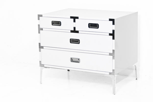 Jet Setter Side White Table in Chrome - ModShop1.com
