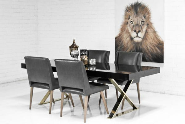 Gold X-Leg Dining Table