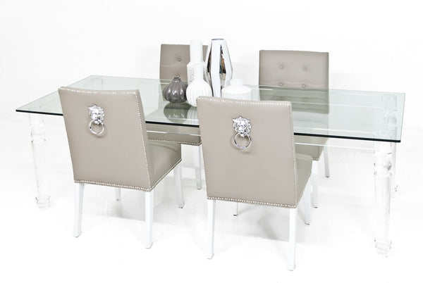 Beverly Hills Lucite And Glass Dining Table