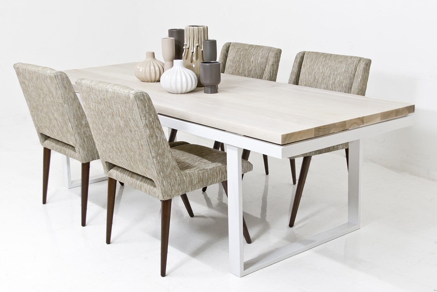 Mid Century Bleached Walnut Dining Table