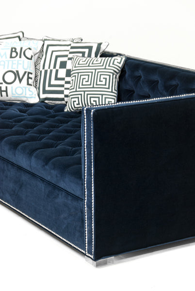 New Deep Sectional in Regal Navy Velvet