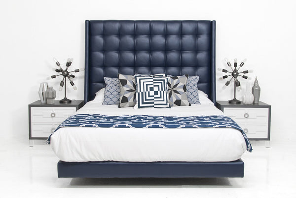 St. Tropez Bed in Navy Faux Leather