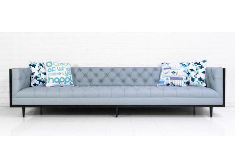 Koenig Sofa in Samba Powder Blue Leather