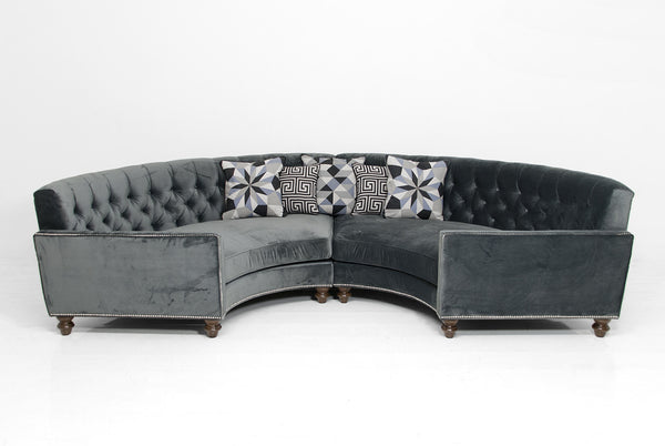 Circle Sectional in Charcoal Velvet - ModShop1.com