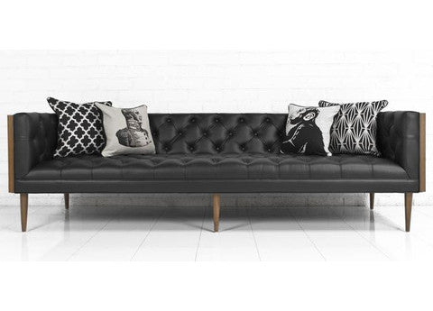 Good Mid Century Sofa In Black Faux Leather