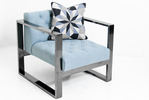 Kube Chair in Black Chrome and Light Blue Textured Linen