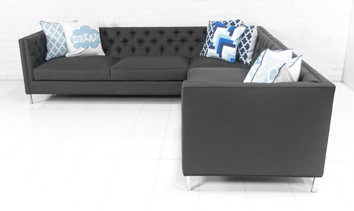 007 Sectional in Calvin Charcoal Textured Linen - ModShop1.com