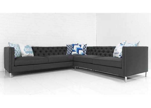007 Sectional in Calvin Charcoal Textured Linen