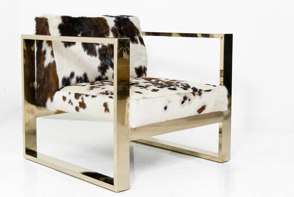 Kube Chair in Exotic Tri-Color Cowhide
