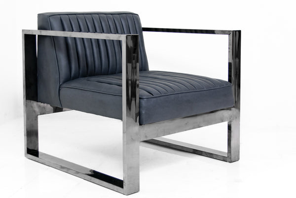 Kube Chair in Black Chrome and Charcoal Faux Leather
