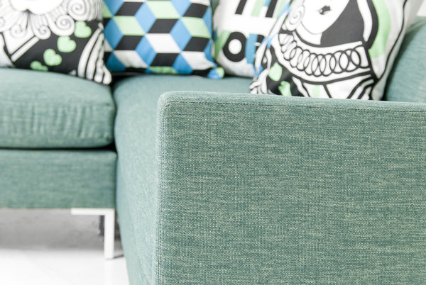 Slim Jim Sectional in Key Largo Teal Linen