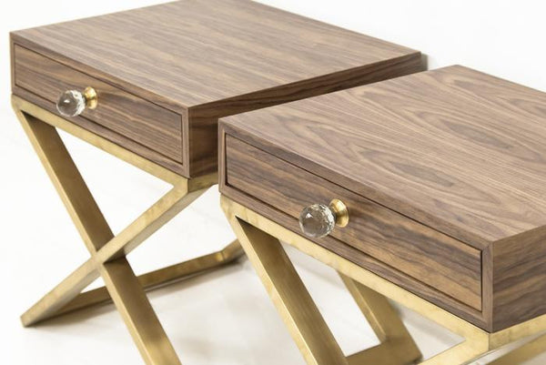 Boca Brass X-Leg Walnut Side Table