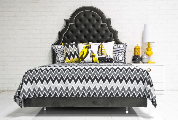 Zig Zag Bedding In Grays Black
