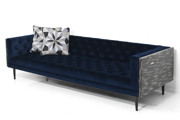 Mid-Century Sofa in Como Indigo Velvet and Black and White Macassar