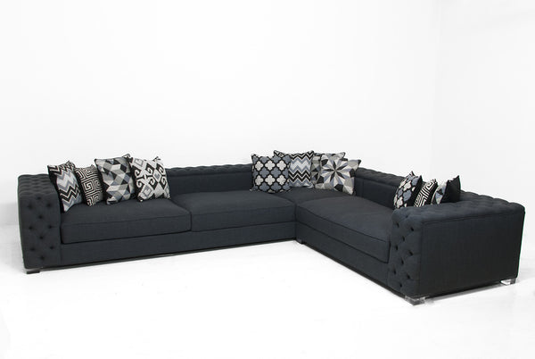 Fat Boy Sectional In Charcoal Linen