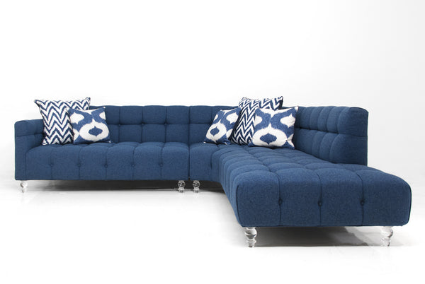 Curved Monaco Sectional in Navy Linen with Biscuit Tufting