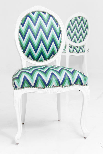 Victoria Dining Chair in Aqua Zig Zag Printed Fabric