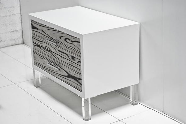 White Macassar Side Table with Glass Top