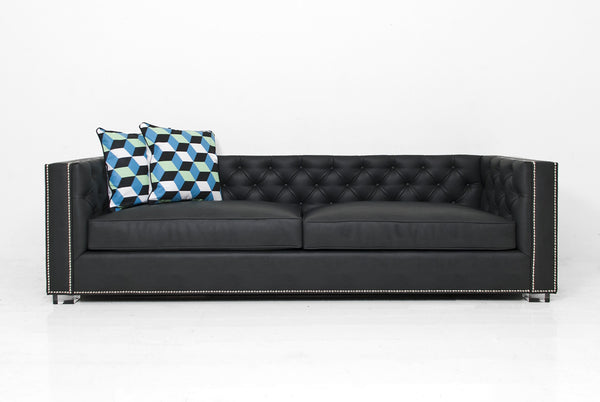 Buenos Aires Sofa in Charcoal Faux Leather - ModShop1.com