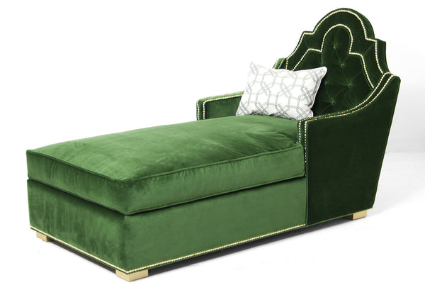 Marrakesh Chaise Lounge in Emerald Velvet