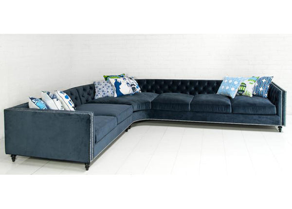 Hollywood Curved Sectional In Mystere Navy