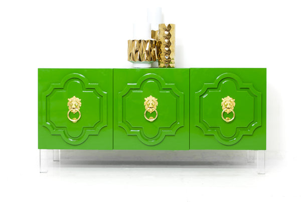 Marrakesh 3 Door Credenza in Kelly Green