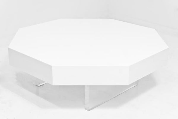 Octagon Lucite Plinth Coffee Table - ModShop1.com