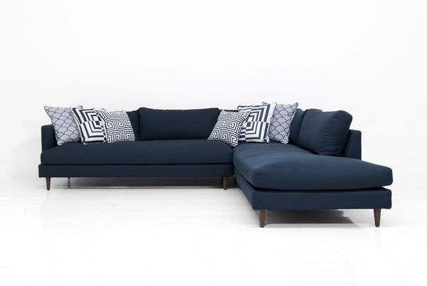 Slim Jim Sectional in Klein Midnight Linen