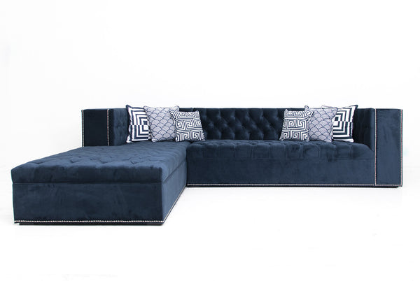 Fat Albert Sectional in Eclipse Navy Velvet
