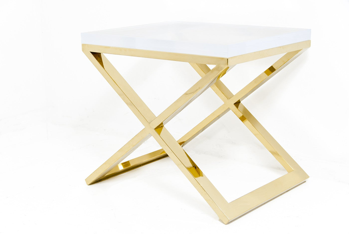 Brass X-Leg Lucite Side Table