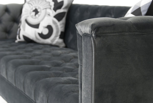 Hollywood Sofa in Charcoal Velvet