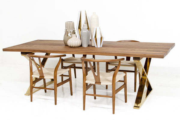 Walnut Slab Brass X Leg Dining Table