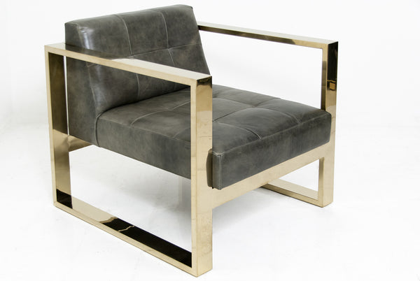 Kube Chair in Distressed Grey Leather and Brass - ModShop1.com