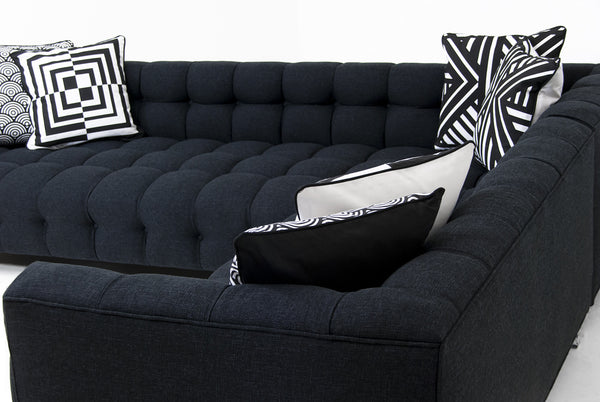 Close up of Delano Sectional with pillows