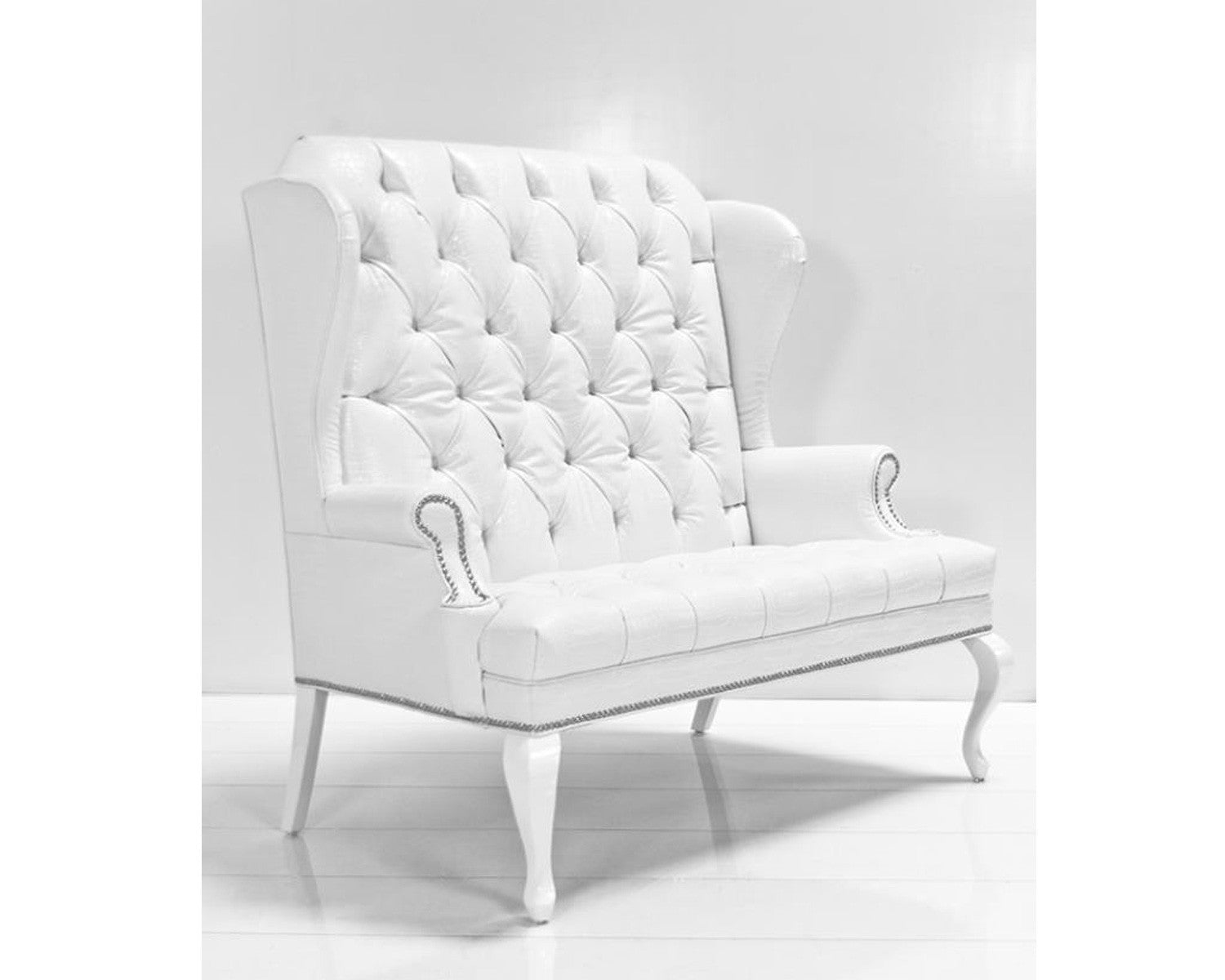 White leather wing chair - Double Brixton Wing Chair