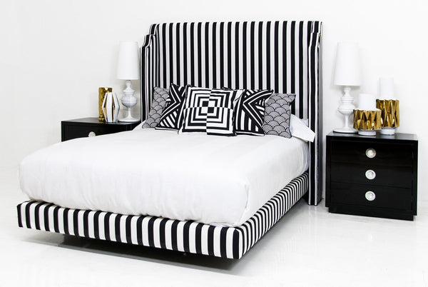 Tiffany Bed in Black and White Stripe Linen - ModShop1.com
