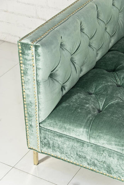 New Deep Sofa in Aqua Velvet