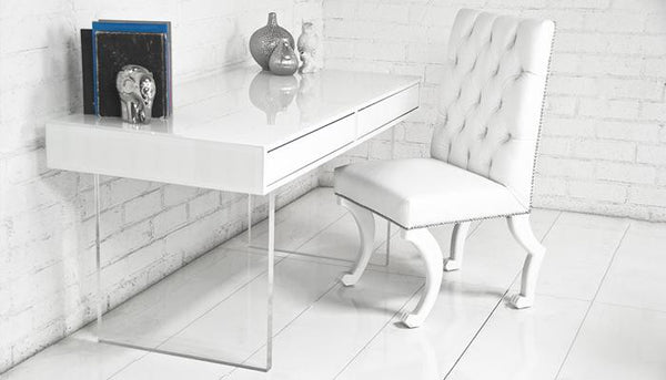 London White Starfire Glass Desk - ModShop1.com