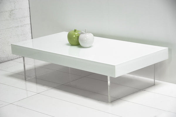 London Coffee Table with Lucite Plinth Legs