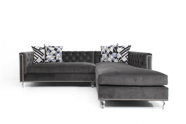 Hollywood Sectional in Cannes Dark Grey Velvet