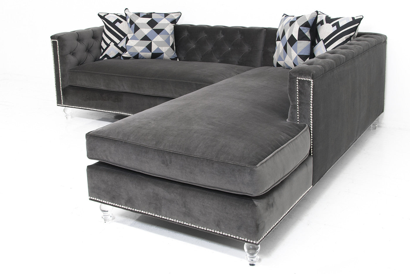 Hollywood Sectional In Cannes Dark Grey Velvet Modshop
