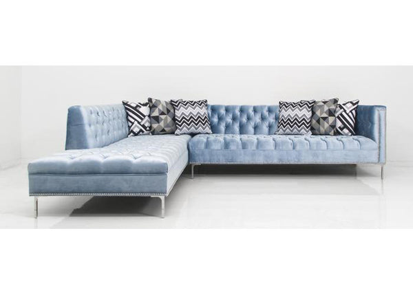 Hollywood Sectional In Trend Denim Velvet
