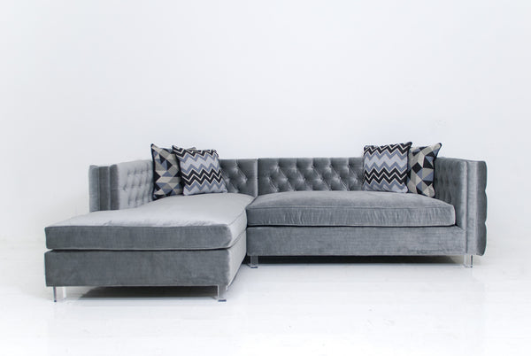 New Deep Inside Out Sectional in Elephant Grey Velvet
