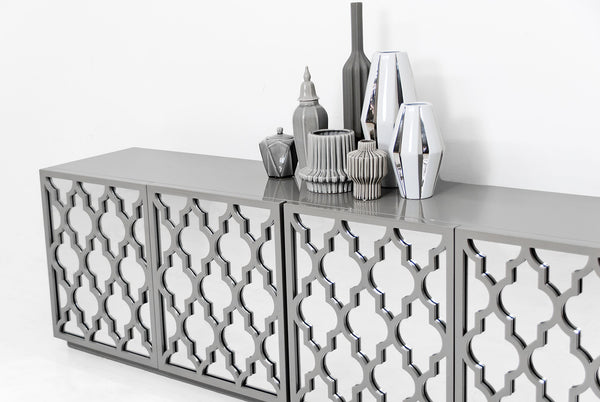 Tangier Mirrored Credenza in Greystone