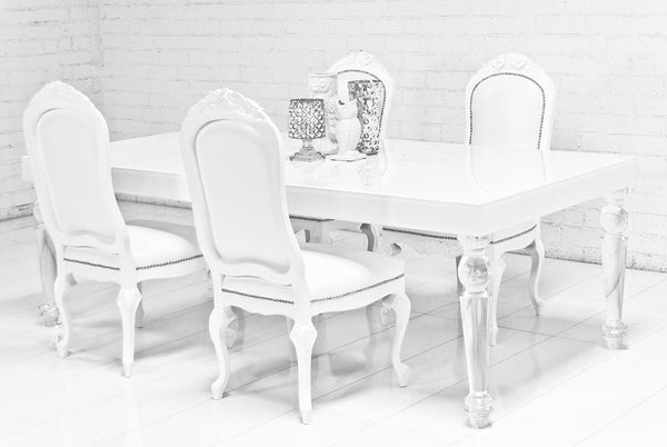 Beverly Hills Lucite Leg White Dining Table