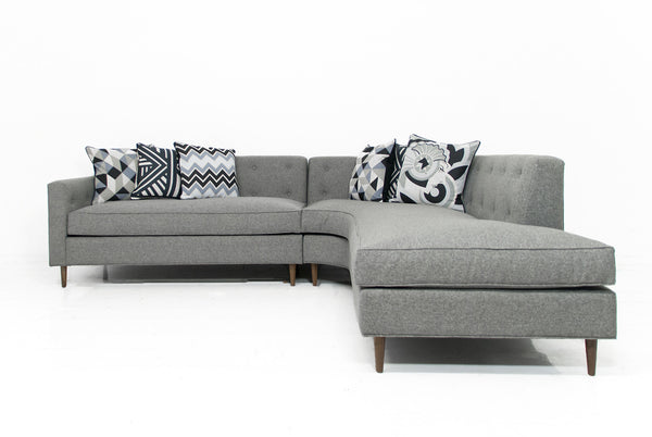 Monaco Sectional in Grey Linen